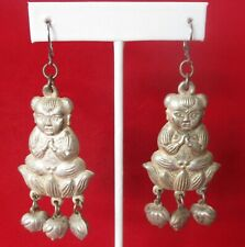 Tonghzi Silver 3 1/2-Inch Tribal Earrings Pair of Antique Chinese Ethnic Miaol