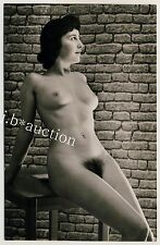 DARK-haired female nude study/atto studio * VINTAGE 60s German Studio Photo
