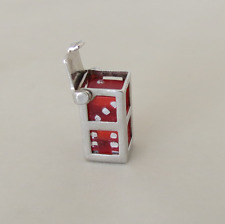 Vintage Lucite Dice in Case Sterling Silver Movable Charm