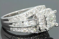 10K WHITE GOLD 2.50 CARAT WOMEN REAL DIAMOND ENGAGEMENT RING WEDDING RING BRIDAL