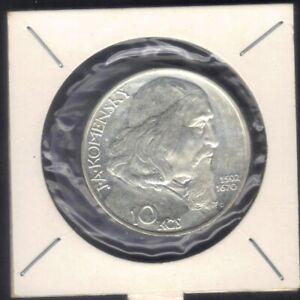 1957 CZECHOSLOVAKIA 10 KORUN JAN AMOS KOMENSKY  SILVER COIN KM#48 UNC