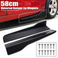 Pair 58cm Universal Black Car Side Skirt Rocker Splitters Winglet Wings