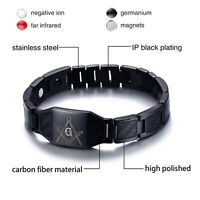 Mason Masonic Freemason Bracelet Black Stainless Steel Carbon Fiber