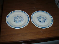 Lot of 3 Oxford Blue Onion 7 1/2 inch Salad or Bread Plates Made in Brazil