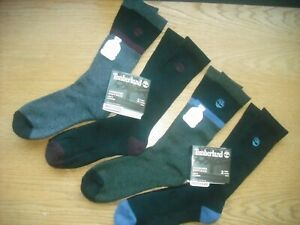 Mens NWT TIMBERLAND Boot Crew Socks 4prs Dark Colors Black Gray Navy ReBOTL Sz:L