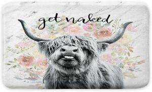 Get Naked Bath Mat for Bathroom, Farmhouse Highland Cow Bull Non-Slip Bath Rug