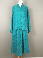 ESPRIT Vtg 80s Geometric Summer Dress Top And Skirt Set Sz 11/12 Aqua Buttons L