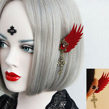 Lady 1 Pair Red Angel Wing Stone Flower Cross Dangle Gothic COS Clip on Earrings