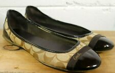 Authentic COACH Shoes Womens Slip on Flats Loafers Brown Cecile 8.5 US Ballet