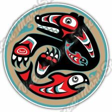 Bear Salmon Native American Indian Car Bumper Window Vinyl Sticker Decal 4.6""