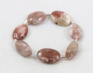 Natural SUNSTONE oval stretch elastic bracelet / strand / bead 14mm(w)x19mm(l)