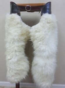 Cowboy Batwing Style Woolly Chaps   Shaggy Hair on Hide Woollies