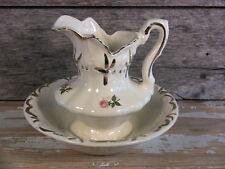 Vintage Ironstone Pitcher & Bowl Set for Wash Stand Gilt & Roses Small White 2Pc