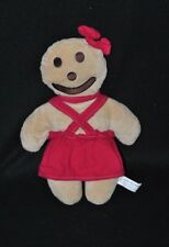 Peluche doudou biscuit bonhomme EURO SOUVENIRS GMBH beige robe rouge 29 cm NEUF