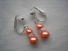 57w Clip on Earrings  for her Pearl Drop Dangle Silver Rose Gold Bridesmaid Gift