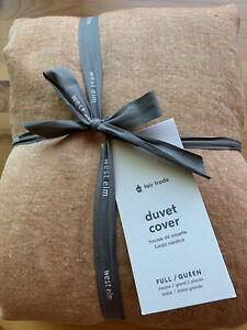 West Elm European Flax Linen Full/Queen Duvet Cover Terracotta Melange Brand New