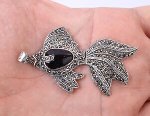FISH MARCASITE ONYX .925 SOLID STERLING SILVER PENDANT #29155