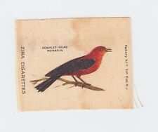 Tobacco Silks ca. 1910 - Zira Cigarettes - Scarlet-Head Manakin - bird