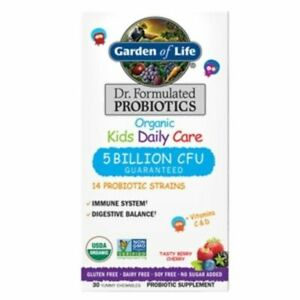 Dr. Formulated Organic Kids Daily Care Probiotic Chewables Tasty Berry