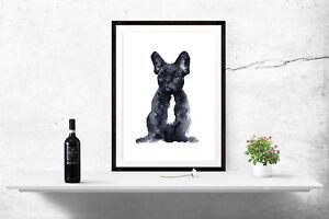 French Bulldog Watercolour Print Poster Wall Art A4 A3 A6 A5 Women Gift - 1068