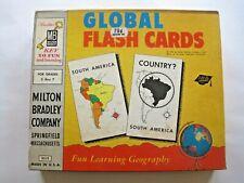 Vintage 1958 Milton Bradley Global Flash Cards Geography Learning Game