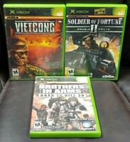 Brothers Arms, Soldier II, Vietcong Haze - 3 Game Lot Microsoft Xbox OG Working