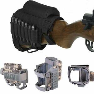 Tactical Rifle Gun Buttstock Cheek Rest Pad Ammo Carrier Case Holder Cartridges