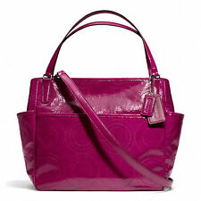 NWT Coach Stitched Patent Leather Baby Diaper Bag Tote 25141 Silver/Port Wine