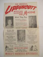 Original Magician'S Advertisement / Handbill. 1940'S 50'S. Lippincott & Maxine