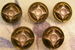 5 vintage black glass buttons with bronze lustre to 'star' shape 18 mm. diam