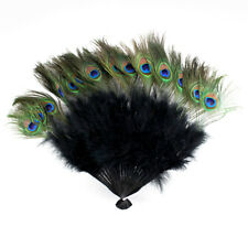 Vintage Peacock Black Feather Holding Hand Fan~Halloween Party Usa seller
