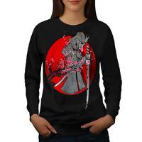 Wellcoda Katana Blood Spring Womens Sweatshirt, Japanese Casual Pullover Jumper