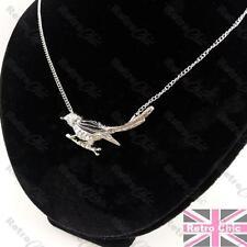 QUIRKY SPARROW BIRD NECKLACE black/silver enamel SONGBIRD rhinestone RETRO CHIC
