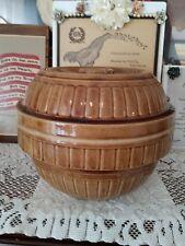Large, Heavy Vintage Brown USA Pottery Stoneware Bean Casserole Pot, Bowl w/ Lid