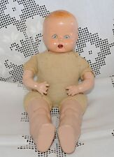 Antique Vintage Composition Baby Doll 1930-40's Cloth Body Teeth Painted Eyes