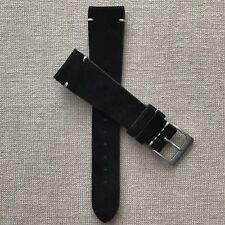 20mm Vintage Black Italian Suede Handmade Leather Watch Strap Band