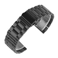 20/22mm Black Solid Stainless Steel Band Watch Strap Replacement +2 Spring Bars