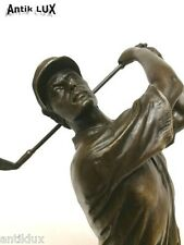Bronzefigur Golfer Skulptur Trophäe Golf Marmorsockel ANTIK LUX
