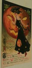 Pretty Witch Owl Hat Goblins Giant Pumpkin John Winsch Halloween Postcard Repo