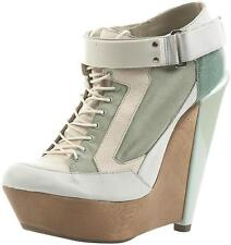 TOPSHOP UNIQUE SKATER MINT LEATHER RETRO KITSCH WEDGE PLATFORM ANKLE BOOTS 6 39