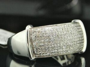 Diamond Band Mens 925 Sterling Silver Round Pave Wedding Engagement Ring .55 Ct.