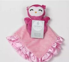NWT Carter's Owl Bird Pink Security Blanket & Rattle Plush Ring Rattle New