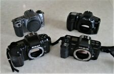 LOT OF 4 35MM FILM CAMERAS MAXXUM CANON NIKON + FLASH VINTAGE PHOTOGRAPHY