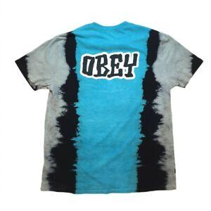 Vintage Y2K tie dye OBEY blue grey and black American XL tshirt