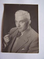 Vintage Photo Man Smoking Long Pipe Checked Jacket