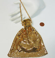 WHITING & DAVIS Gold Metal Mesh Flapper HANDBAG Beggars Bag Accordion Gate Top!