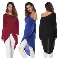 Sexy Women One Off -shoulder Long Sleeve Irregular Blouse Casual Mini Dress Tops
