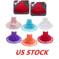 US Kids Girls Floral Dress Lace Princess Wedding Formal Gown Birthday Party Maxi