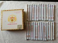VINTAGE MACANUDO 25 PORTOFINO CAFE CIGAR BOX & 32 ALUMINUM CIGAR TUBES