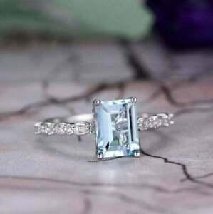 3Ct Emerald Cut Blue Aquamarine Solitaire Engagement Ring 14K White Gold Finish